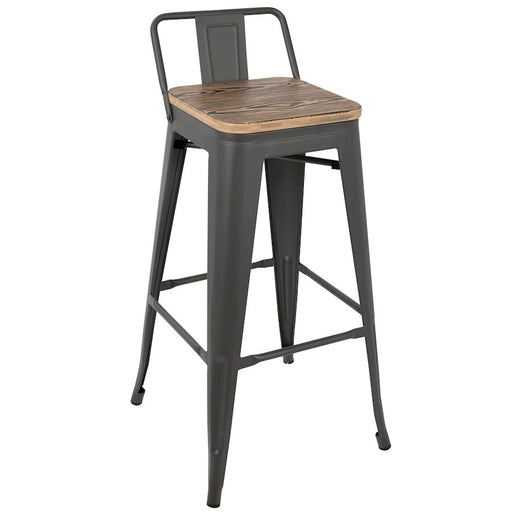 LumiSource Oregon Low Back Barstool, Set of 2, Grey, Brown -BS-ORLBGY-BN2