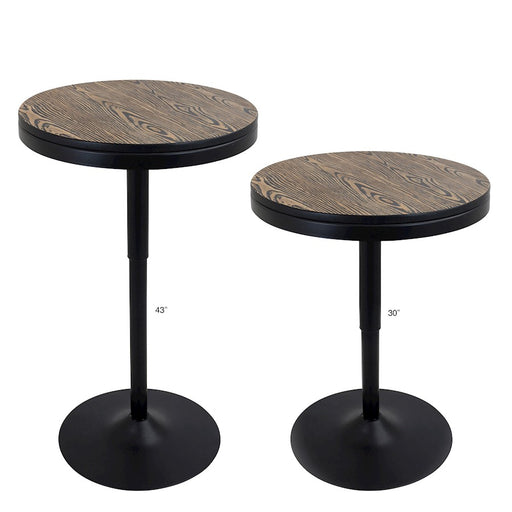 LumiSource Dakota Bar Table, Black, Medium Brown Top - BT-DAKBK