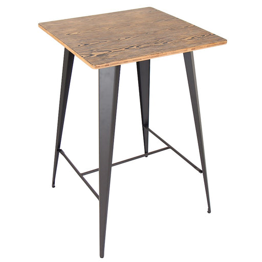 LumiSource Oregon Pub Table, Medium Brown Top, Grey Finish - BT-TW-ORBN-GY