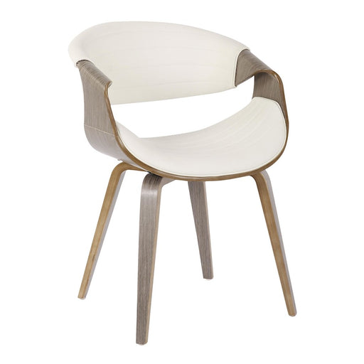 LumiSource Symphony Chair in Light Grey Wood/White Pu - CH-SYMPLGYW