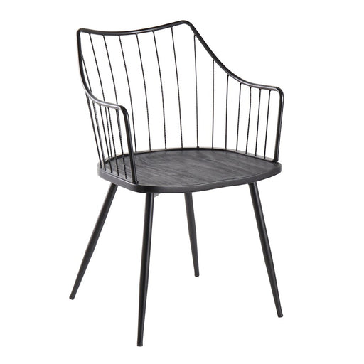 LumiSource Winston Chair in Black Metal/Black Wood - CH-WINSTONBKBK