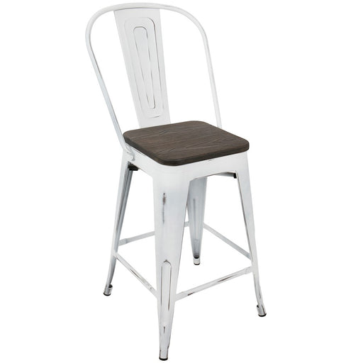 LumiSource Oregon High Back Counter Stool, Set of 2, White, Espr -CS-ORHBVW-E2