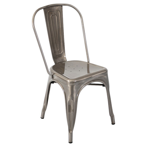 LumiSource Oregon Dining Chair (Set of 2), Brushed Silver - DC-TW-ORSV2