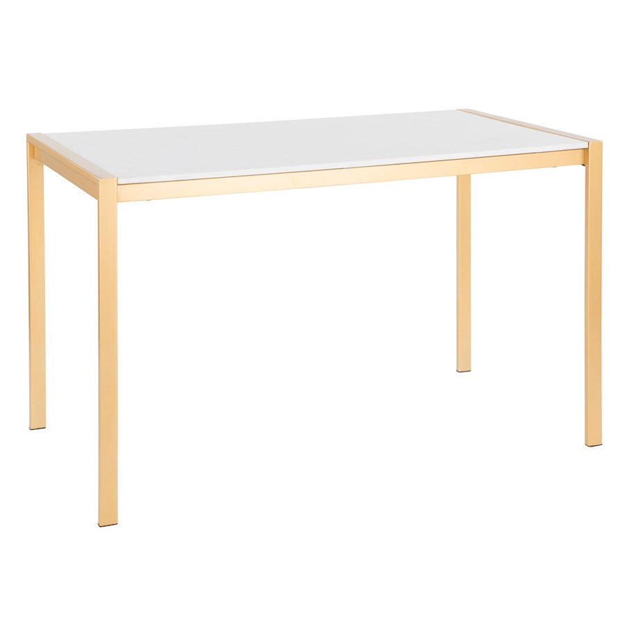 Lumisource Fuji Modern/Glam Dining Table, Gold, White Marble - DT-FUJ4728AUWM