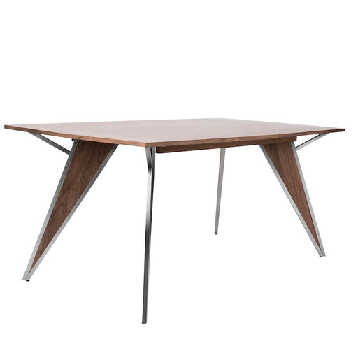 LumiSource Tetra Dining Table, Walnut Wood -DT-TETRAWL-SS