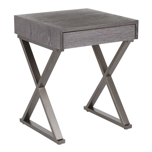 LumiSource Luster End Table, Antique Metal/Dark Grey Wood