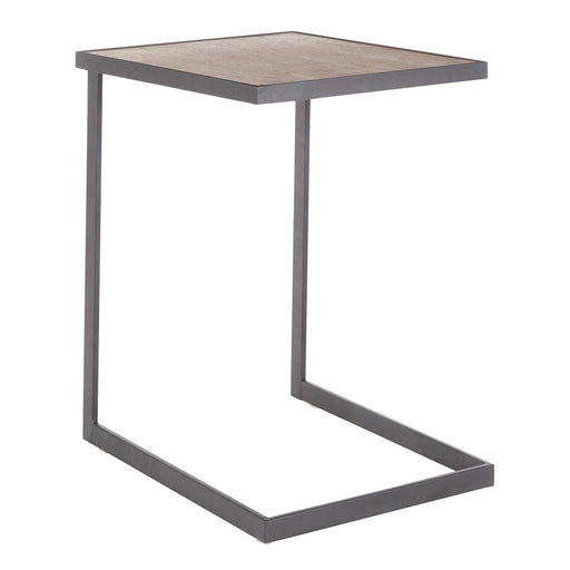LumiSource Industrial Zenn End Table, Black Metal/Walnut Wood