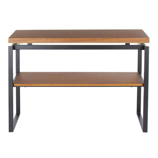 LumiSource Drift Console Table, Black Metal/Weathered Walnut - TBC-DRIFTBKWL