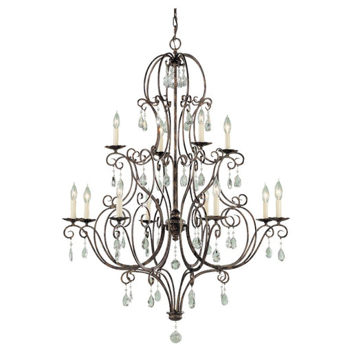 Feiss Chateau 12-Light Multi-Tier Chandelier, Mocha Bronze