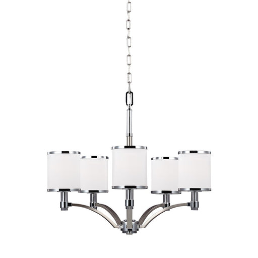 Feiss Prospect Park 5 Light Chandelier, Satin Nickel/Chrome