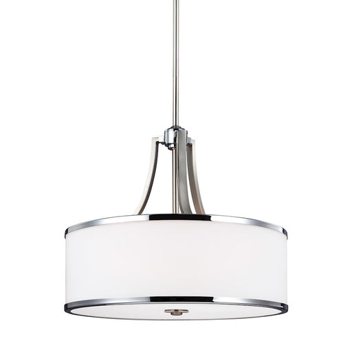 Feiss Prospect Park 4 Light Uplight Pendant, Satin Nickel/Chrome