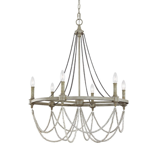 Feiss Beverly 6 Light Chandelier, French Washed Oak