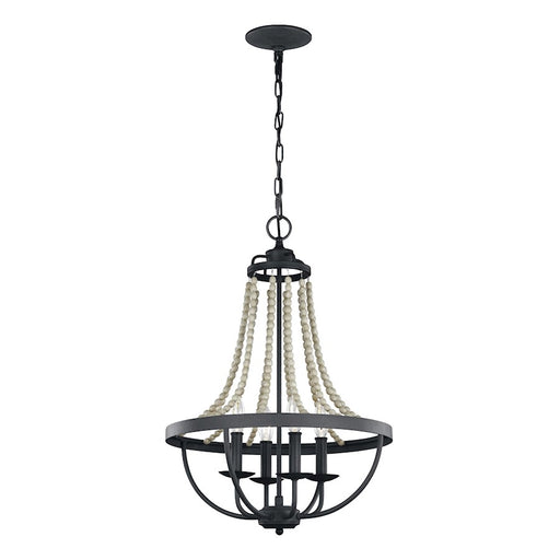 Feiss Nori 4 Light Chandelier, Dark Zinc/Grey