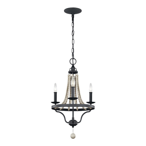 Feiss Nori 3 Light Chandelier, Dark Zinc/Grey