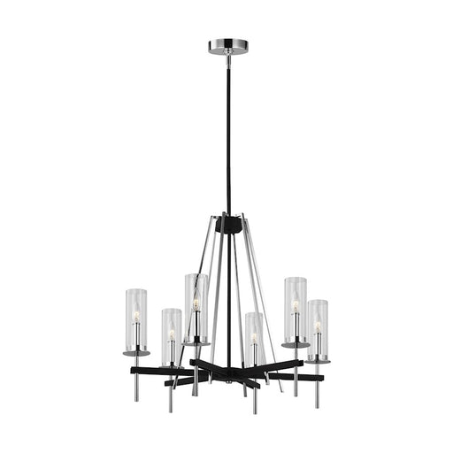 Feiss Broderick Chandelier Textured Black and Chrome