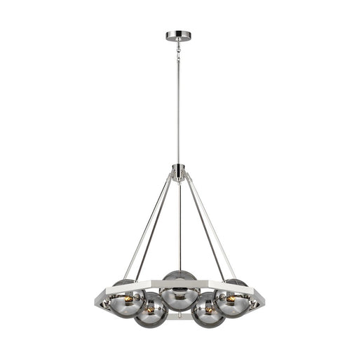 Feiss Harper Chandelier, Polished Nickel