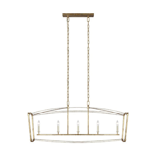 Feiss Thayer 5-Light Linear Chandelier, Antique Gild - F3326-5ADB