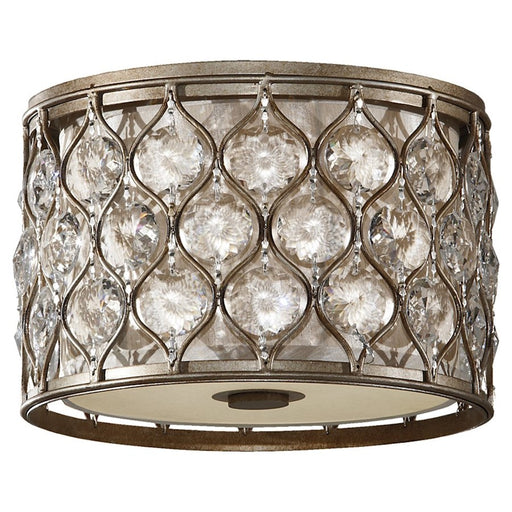 Feiss Lucia 2-Light Flush Mount, Burnished Silver