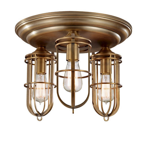 Feiss 3-Light Flush Mount, Dark Antique Brass