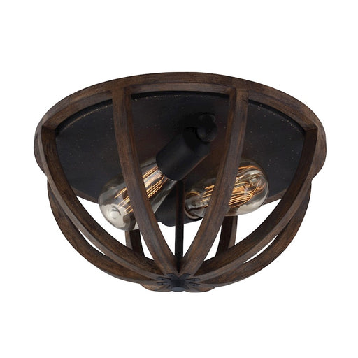 Feiss 2-Light Flush Mount, Weather Oak Wood/Antique Forged Iron