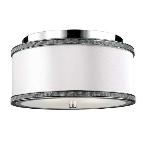 "Feiss Pave"" 2 Light Crystal Inlay Flush Polished Nickel"