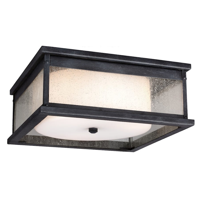 Feiss Pediment 2 Light Outdoor Flush, Dark Weathered Zinc