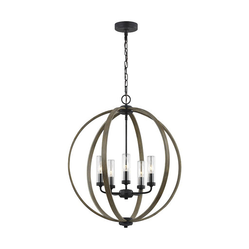 Feiss Allier 5 Light Chandelier, Weathered Oak/Forged Iron