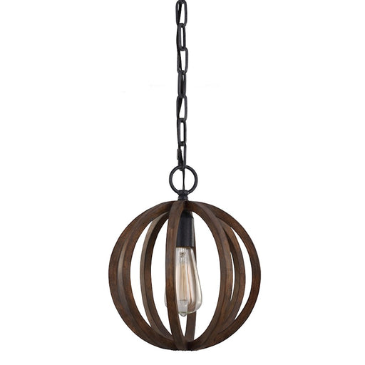 Feiss 1-Light Mini Pendant, Weather Oak Wood / Antique Forged Iron