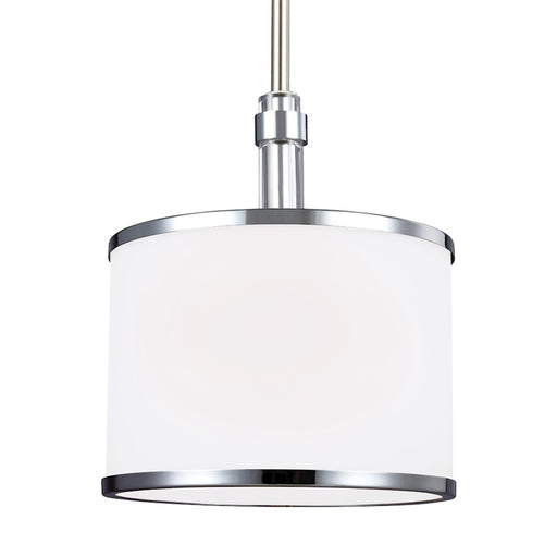 Feiss Prospect Park 1 Light Mini-Pendant, Satin Nickel/Chrome