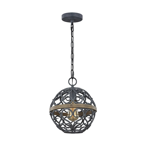 Feiss Avila 1 Light Pendant, Weathered Zinc/Weathered Oak