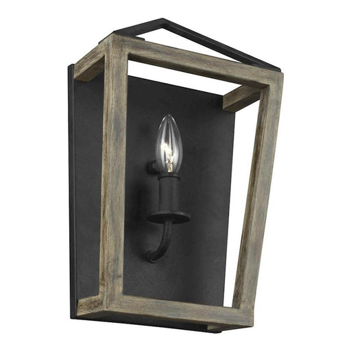 Feiss Gannet 1 Light Wall Sconce, Oak Wood/Forged Iron