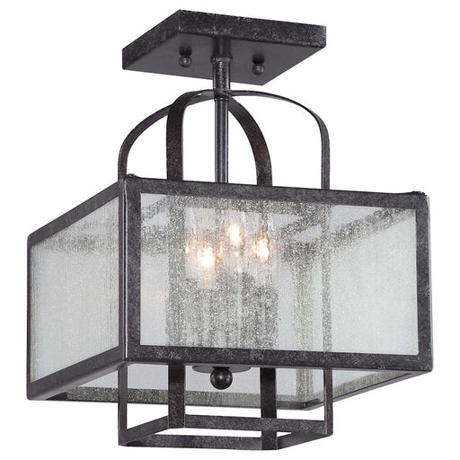 Minka Lavery Camden Square 4 Light Semi Flush Mount, Aged Charcoal