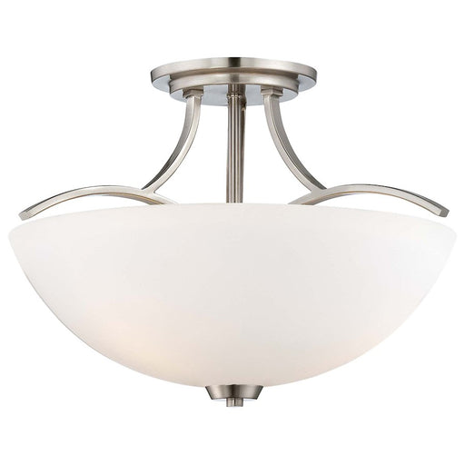 Minka Lavery Overland Park 3 Light Semi Flush Mount, Brushed Nickel