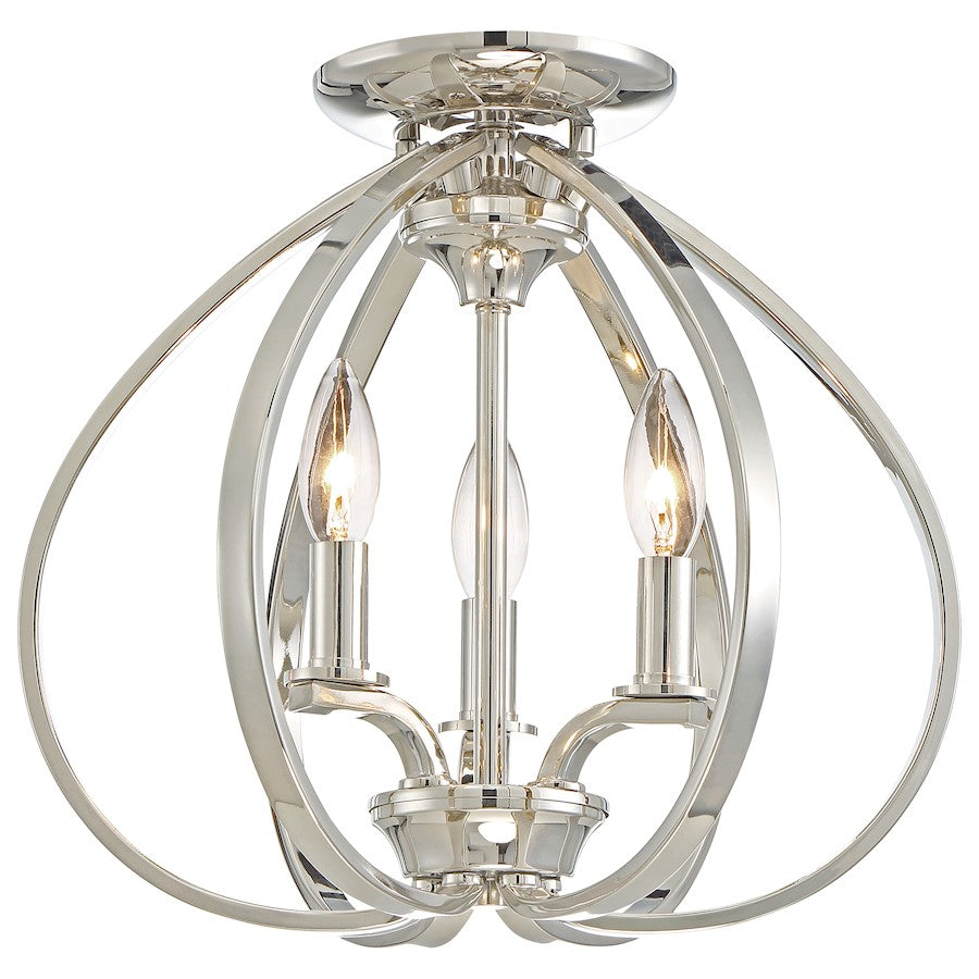 Minka Lavery Tilbury 3 Light Semi Flush Mount, Polished Nickel