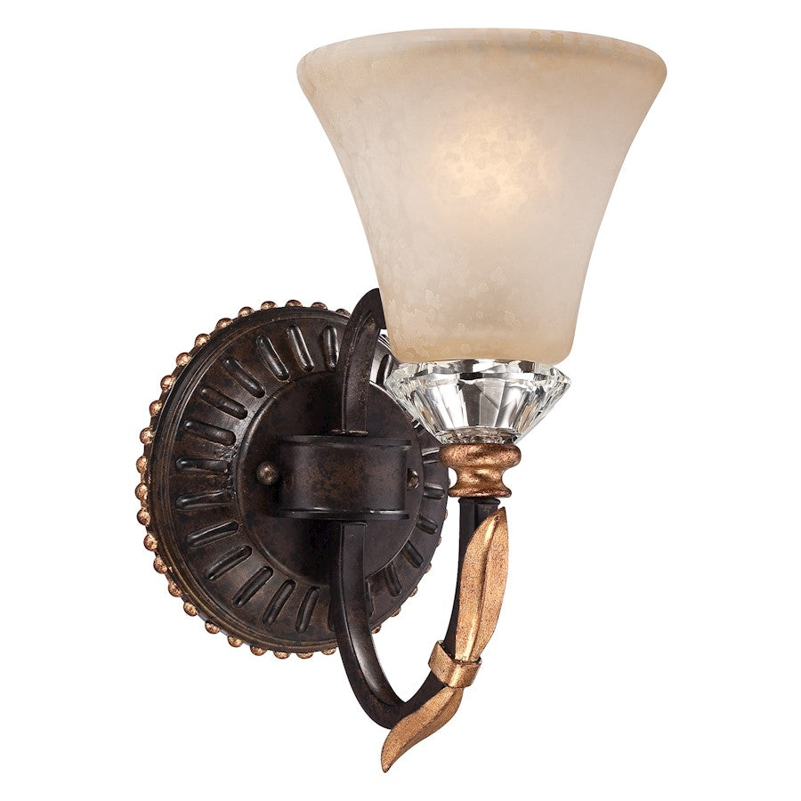 Minka Metropolitan Bella Cristallo 1 Light Wall Sconce, French Bronze/Gol