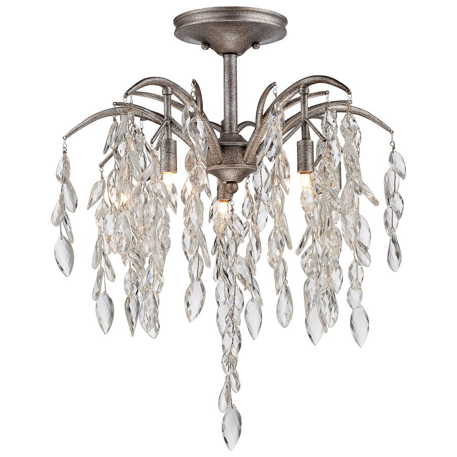 Minka Metropolitan Bella Flora 5 Light Semi Flush Mount, Silver Mist