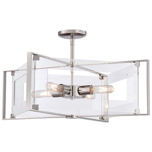 Minka George Kovacs Crystal Clear 4-LT Convertible Semi Flush, Nckl