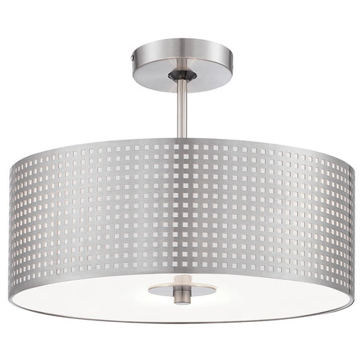 Minka George Kovacs Grid 3 Light Semi Flush Mount, Brushed Nickel