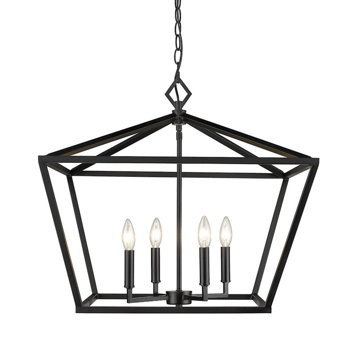 Millennium Lighting 4 Light Pendant, 21', Matte Black