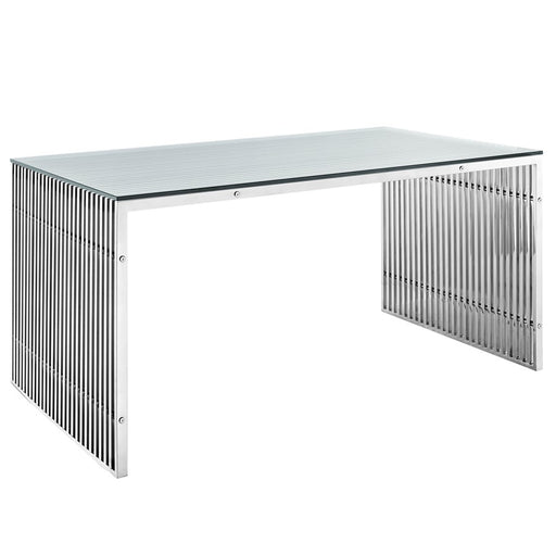 Modway Furniture Gridiron Stainless Steel Desk, Silver - EEI-1433-SLV