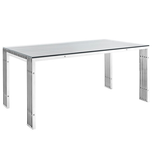 Modway Furniture Gridiron Stainless Steel Dining Table, Silver - EEI-1434-SLV