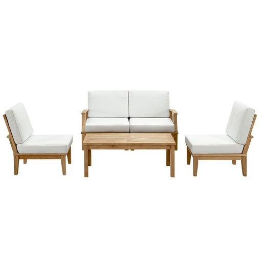 Modway Marina 5 Pc Teak Sofa Set w/ Table, Natural White - EEI-1477-NAT-WHI-SET