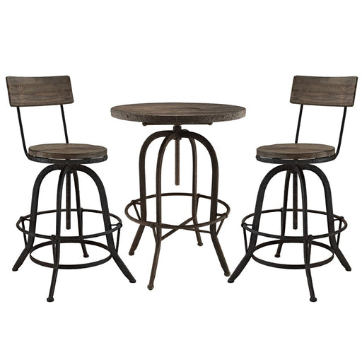Modway Gather 3 Piece Dining Set w/ Procure Stools, Brown - EEI-1604-BRN-SET
