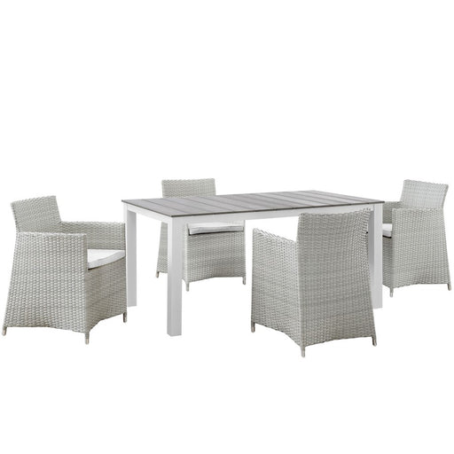 Modway Junction 5 Piece Dining Set, Gray White
