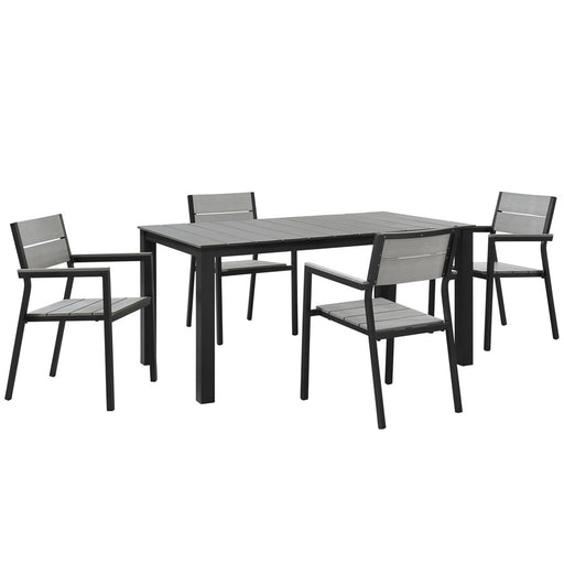 Modway Maine 5 Piece Patio Dining Set, Brown Gray