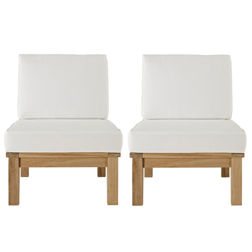 Modway Marina 2 Pc Teak Middle Sofa Set, Natural White