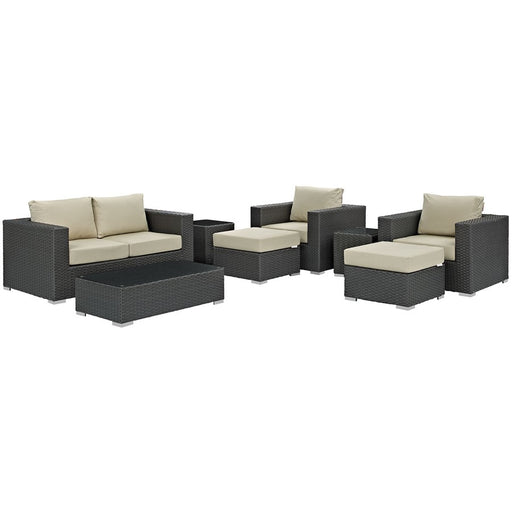 Modway Sojourn 8 Pc Outdoor Sectional Set