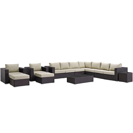 Modway Sojourn 11 Pc Outdoor Sectional Set