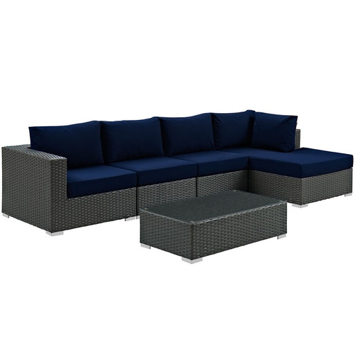 Modway Sojourn 5 Piece Chaise Seating Set