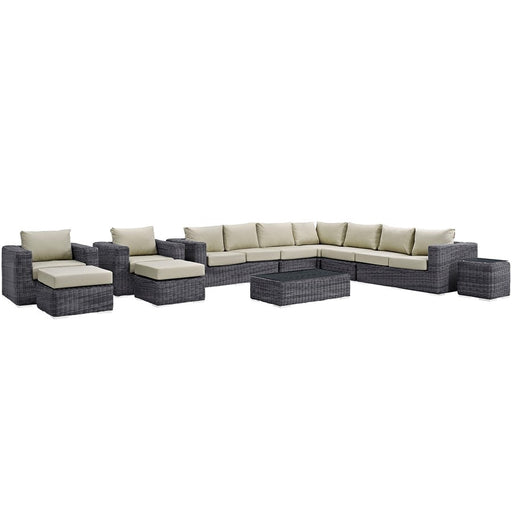 Modway Summon 11 Pc Outdoor Sectional Set
